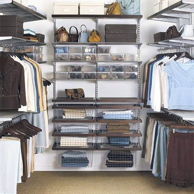 Elfa Closet System Walnut Platinum Walk In Closet The