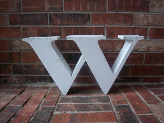Reclaimed Metal Sign Block Letter W Or M White Great Gift