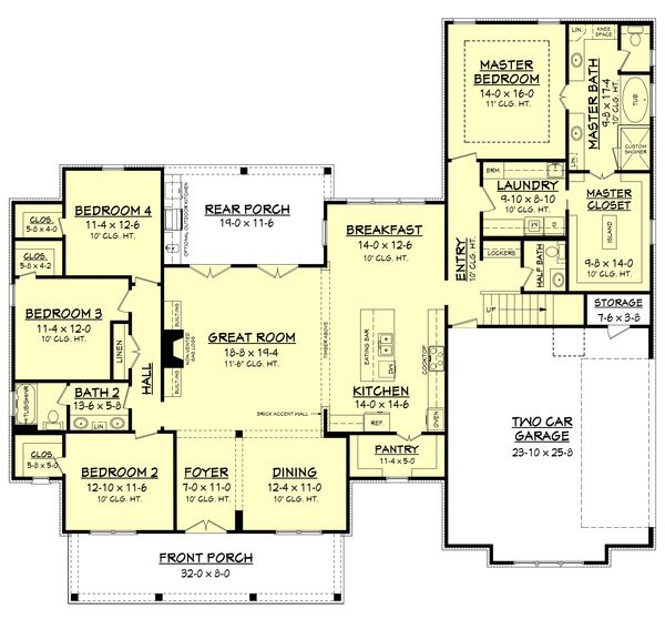 Farmhouse Style House Plan 4 Beds 2 5 Baths 2686 Sq Ft Plan 430 156 Farmhouse Style House Plans Farmhouse Floor Plans House Plans Farmhouse