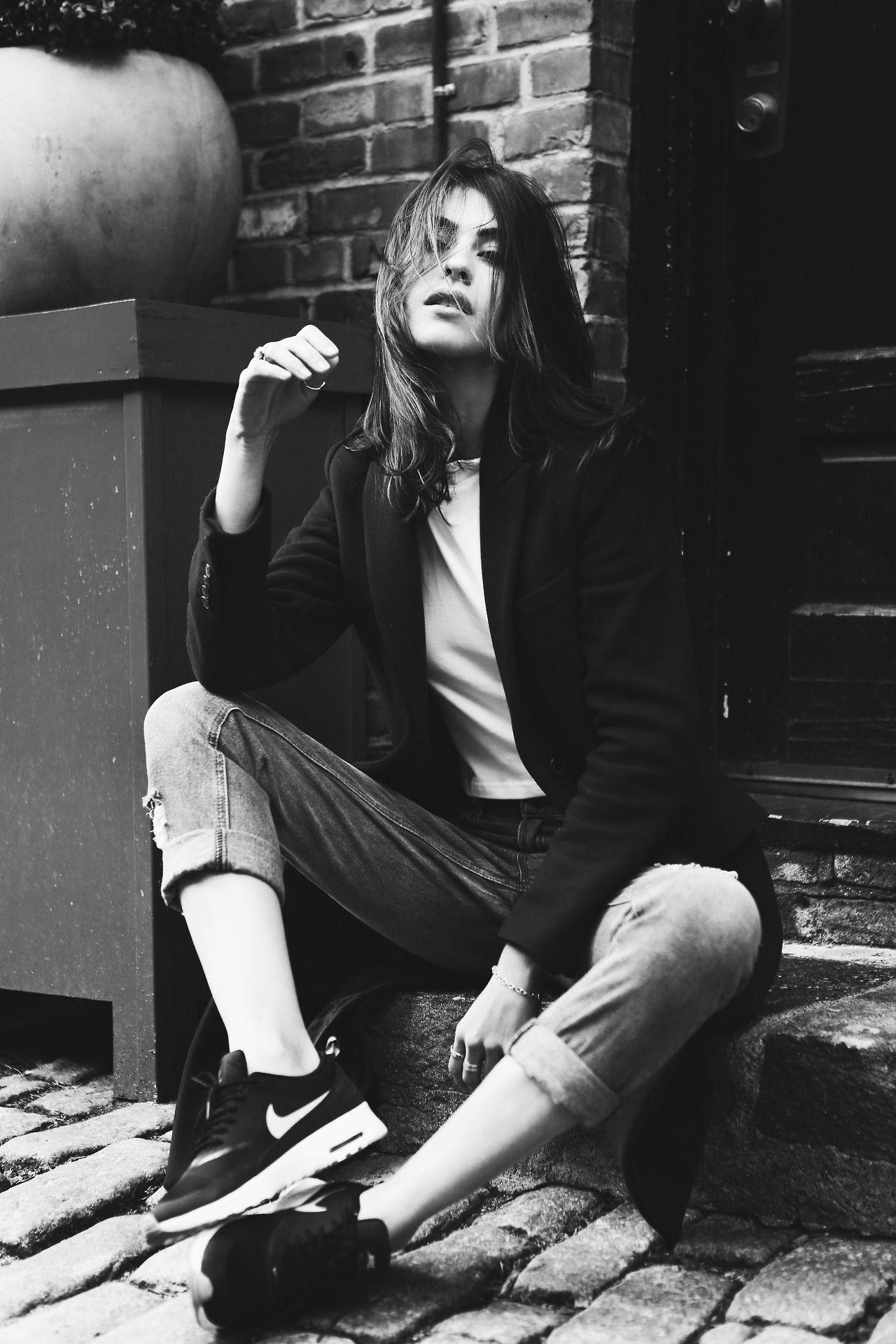 "tomboybklyn: ""tomboy simple: black coat and sneakers… """