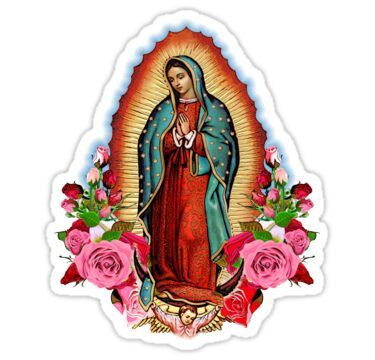 Our Lady Of Guadalupe Sticker By Cabezon37 Catholic Wallpaper Cute Little Drawings Print Stickers