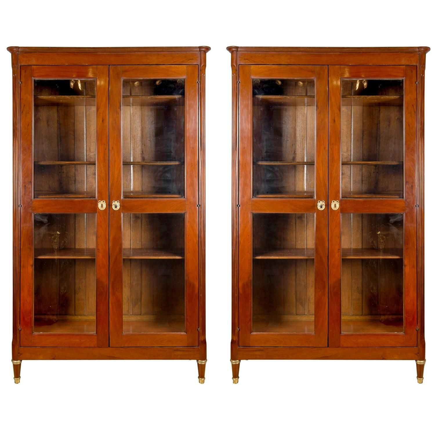 French Pair of Louis XVI Bookcases in Mahogany