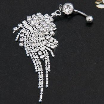 Hot Type Plaqué Argent Cristal Tassel Dangle Navel Belly Button Ring Bar pierci
