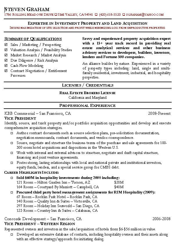 real estate resume example 1