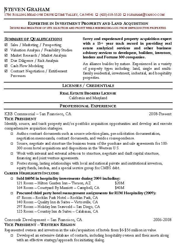 Real Estate Resume Example 1 Resume Sample Resume