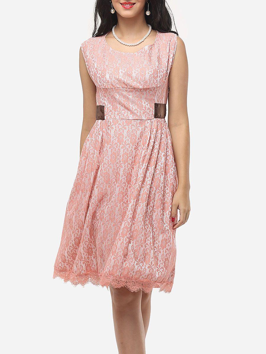#AdoreWe #FashionMia Skater Dresses - FashionMia Lace Exquisite Round Neck Skater-dress - AdoreWe.com