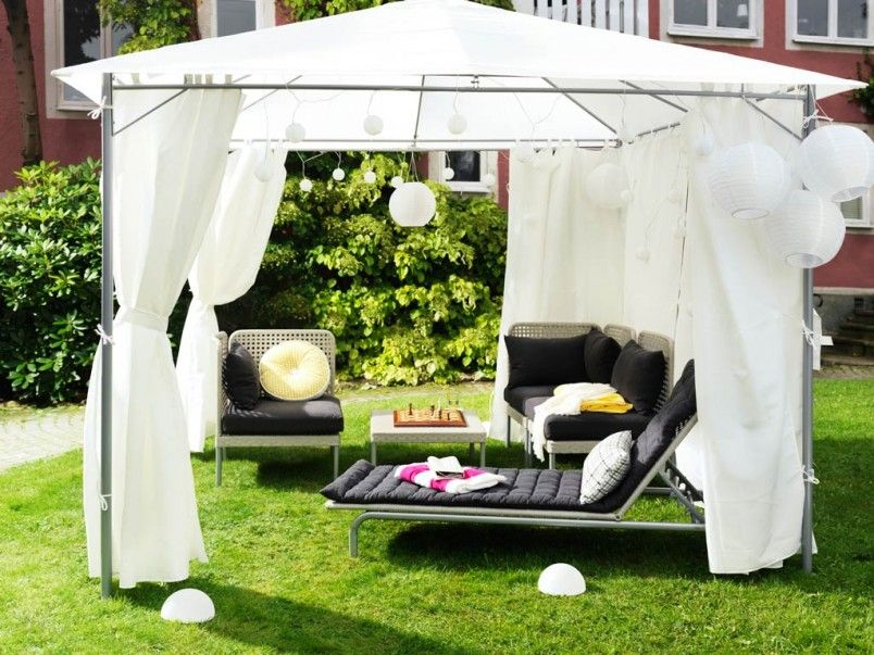 Fantastic Ikea Summer Season Furniture For Your Patio Design With Black Soft Cushion On White Couch Frame Also White Canopy Outdoor Modern Pergola Patio Tents