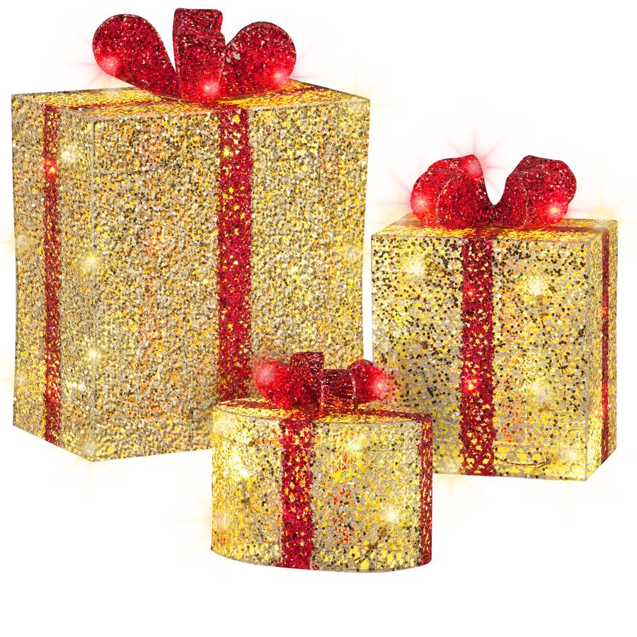 Shop Gemmy 3Piece 1.51ft Gift Boxes Outdoor Christmas