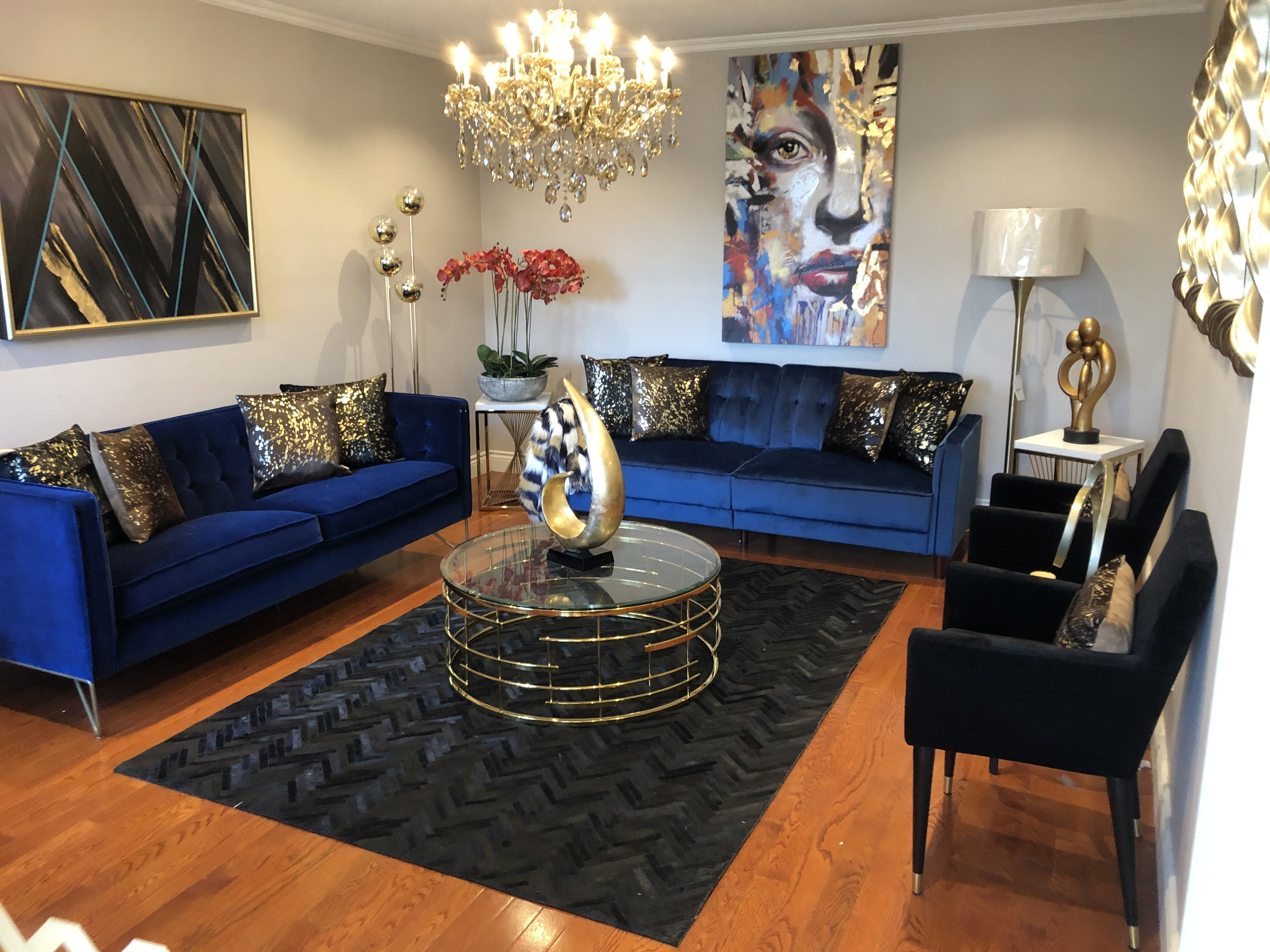 Living Room Blue Black Brown Gold Decor Hint Of Coral Gold