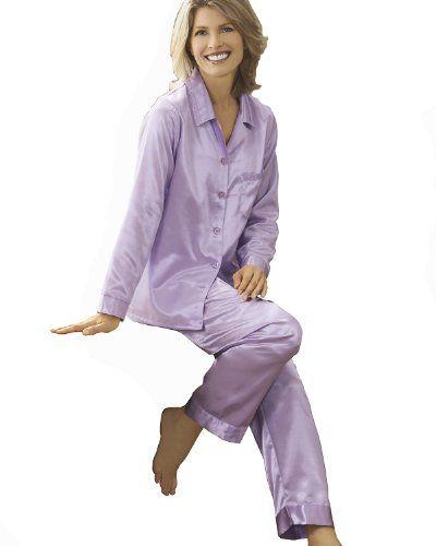 National Brushed Back Satin Pajamas Lilac SWEET DREAMS