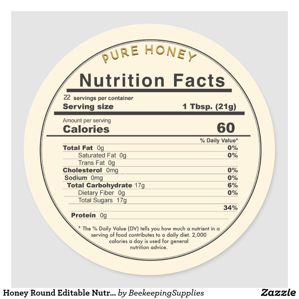 Honey Round Editable Nutrition Facts Label Zazzle Com Nutrition Facts Label Nutrition Facts Nutrition Facts Design