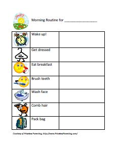 Sassy image pertaining to morning routine checklist printable