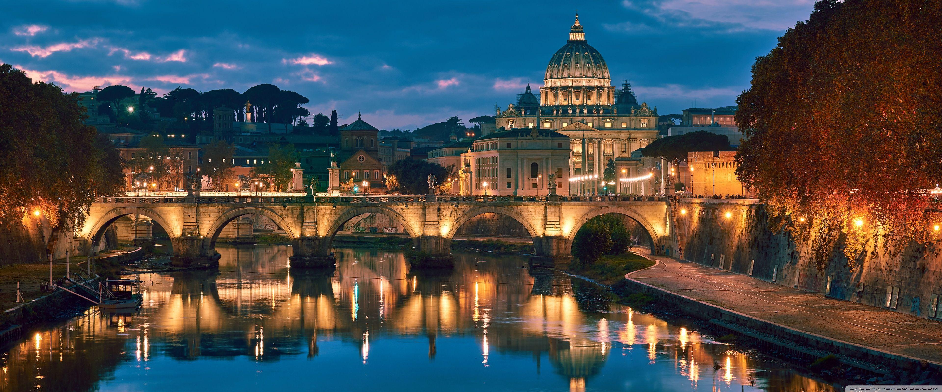 Ponte Santangelo Rome Italy 3840 X 1600 In 2020 Rome Italy Rome City Rome