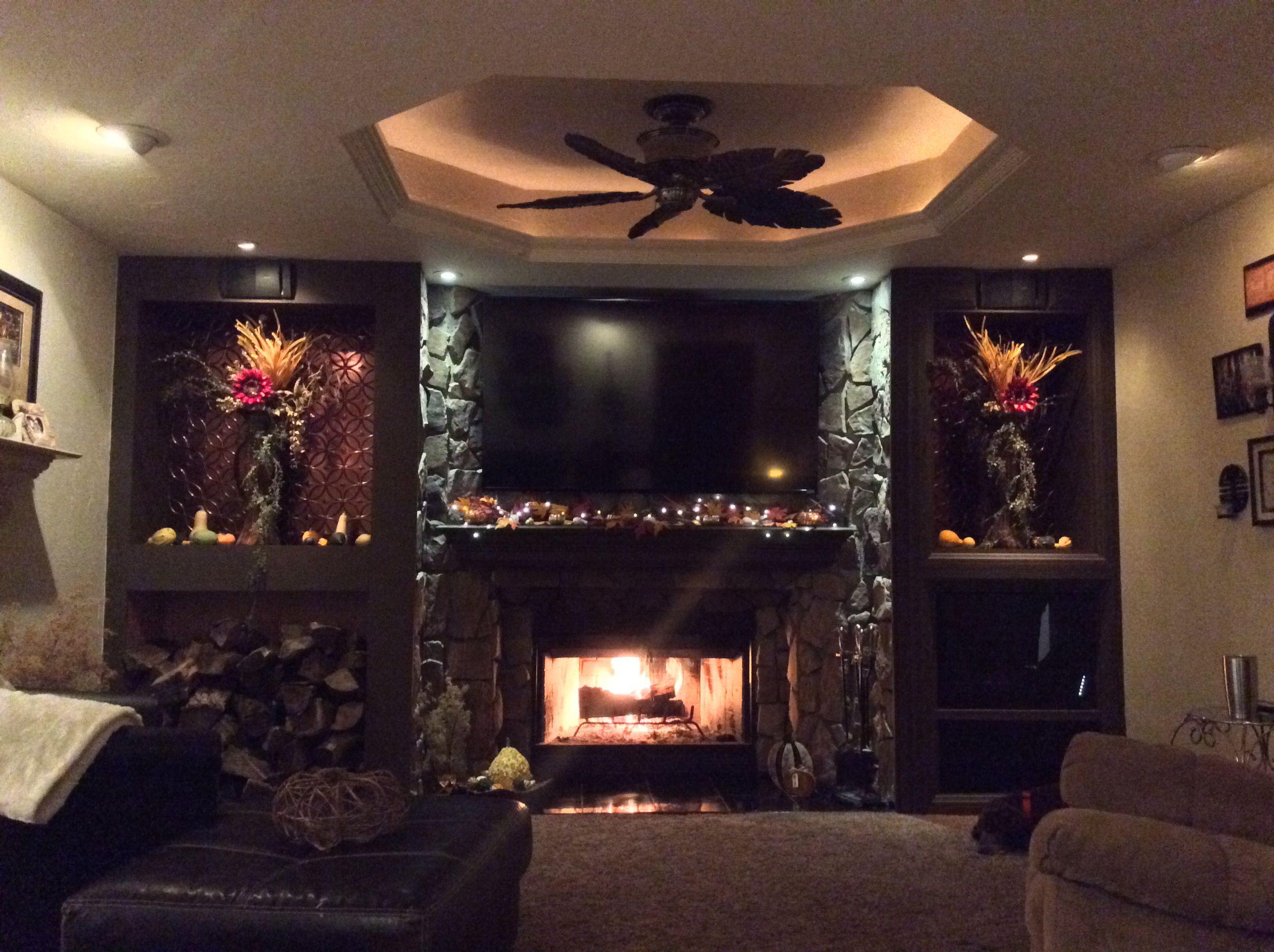 Stone fireplace, living/family room entertainment center ...