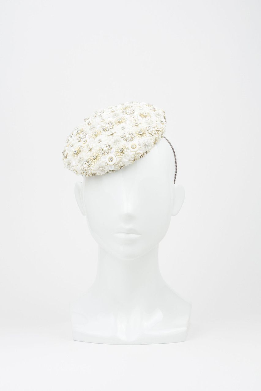 The Eternal Headonist  - SOLD OUT Stunning White Beaded Bridal Button Beret Headpiece by Richard Nylon Millinery, $650.00 (http://www.theeternalheadonist.com/sold-out-stunning-white-beaded-bridal-button-beret-headpiece-by-richard-nylon-millinery/)