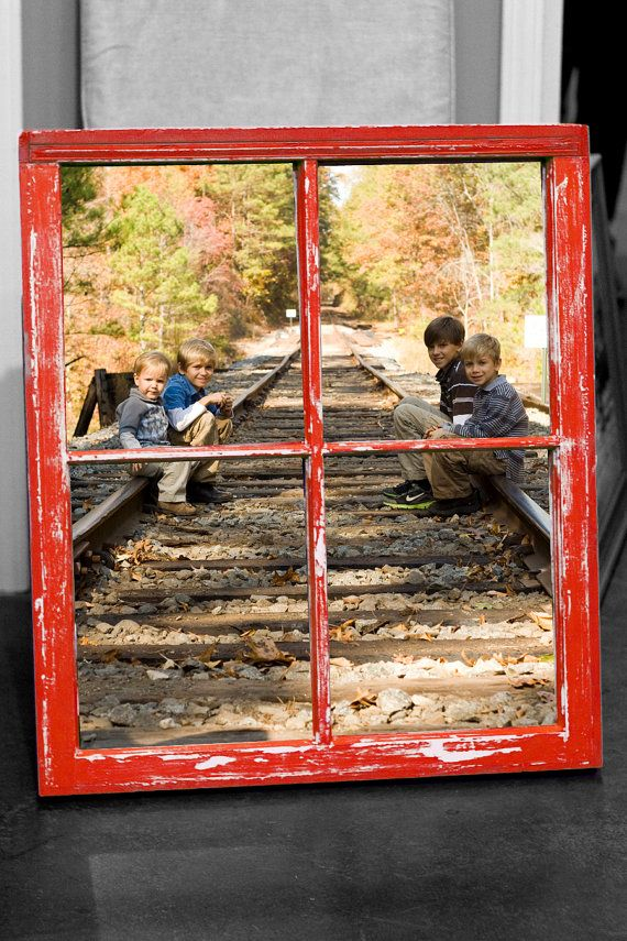 Old Vintage Window Frame With Your Photo Handpainted Distressed Chalk Paint Rustic Red With White Base Window Art Vintage Windows Old Windows