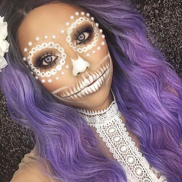 WEBSTA @ makeupaddictioncosmetics - Celebrating makeup artists of the week Halloween's Edition. We are absolutely loving the awesome Halloween looks you beauty's are creating.This all white sugar skull by @promisetamang @promisetamang is so pretty.  Have you seen them on our Instagram section of our website? Every week, we will be featuring 6 new artists with direct links to all their Instagram accounts.  We love giving back and showing our support to you all Makeup Addicts...