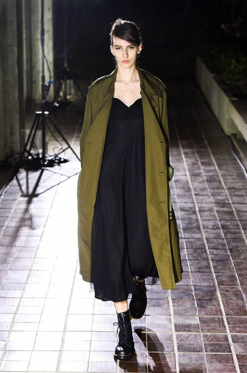 Fluid | The long green coat | Olive and black | ワイズ2014AW コレクション Gallery10