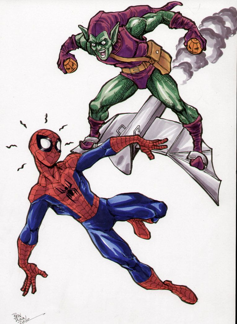 spiderman vs green goblin coloring pages - spider man vs green goblin ben dunn comic art ben