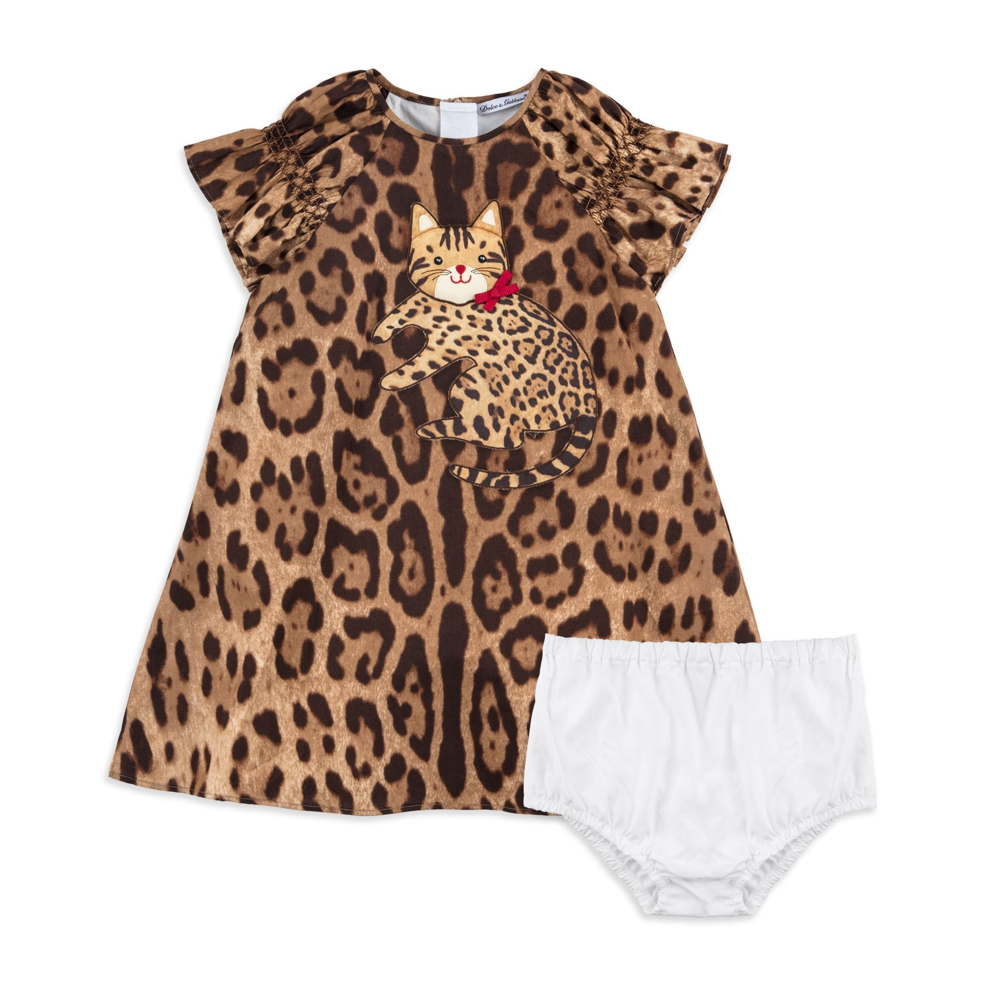 DOLCE & GABBANA Baby Girls Leopard Print Dress Brown £395 Baby