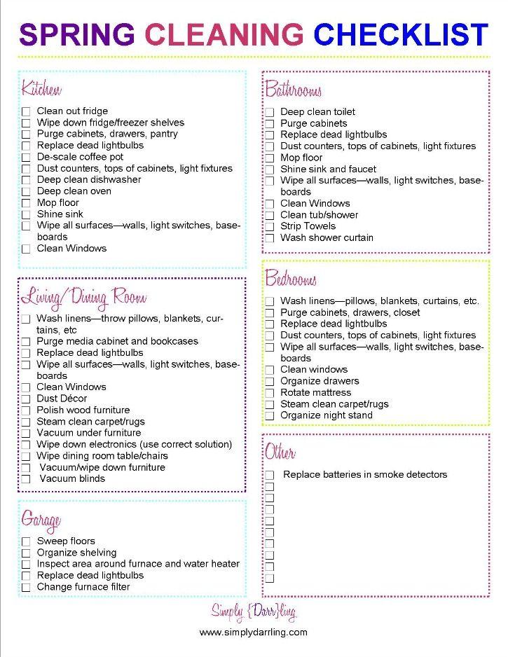 Spring Cleaning Checklist Cleaning checklist, Spring and Organizing - sample spring cleaning checklist