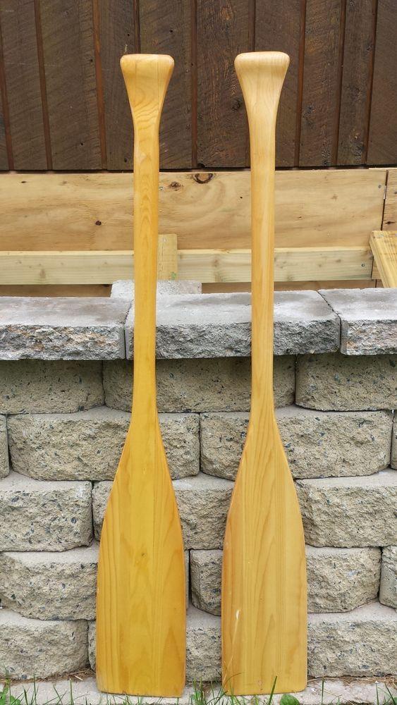 2 Vintage Wooden Oars 84 90 Paddles Boat Canoe Great Decor Ebay Wooden Oars Wooden Paddle Wooden