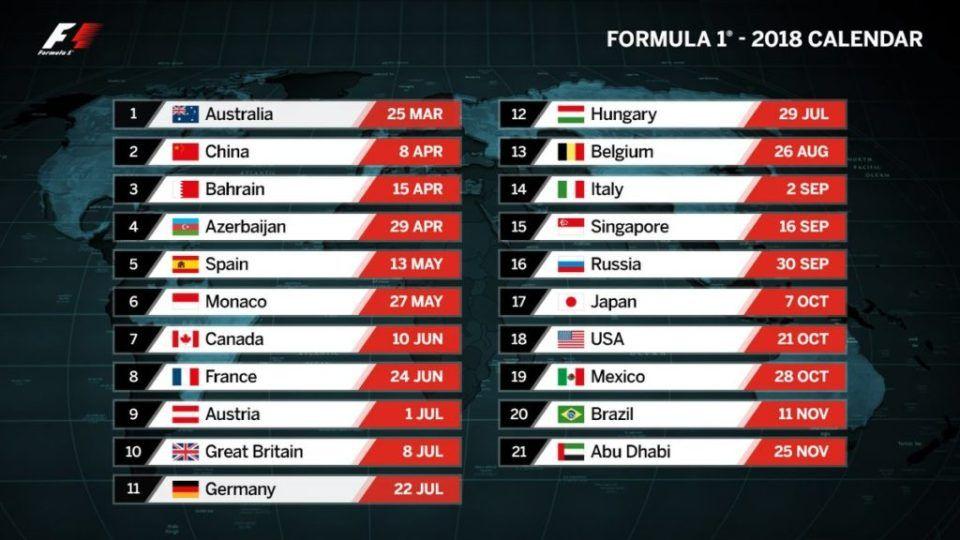 Formula 1 Calendario.Il Calendario F1 2018 21 Gp E La Prima Triplettta
