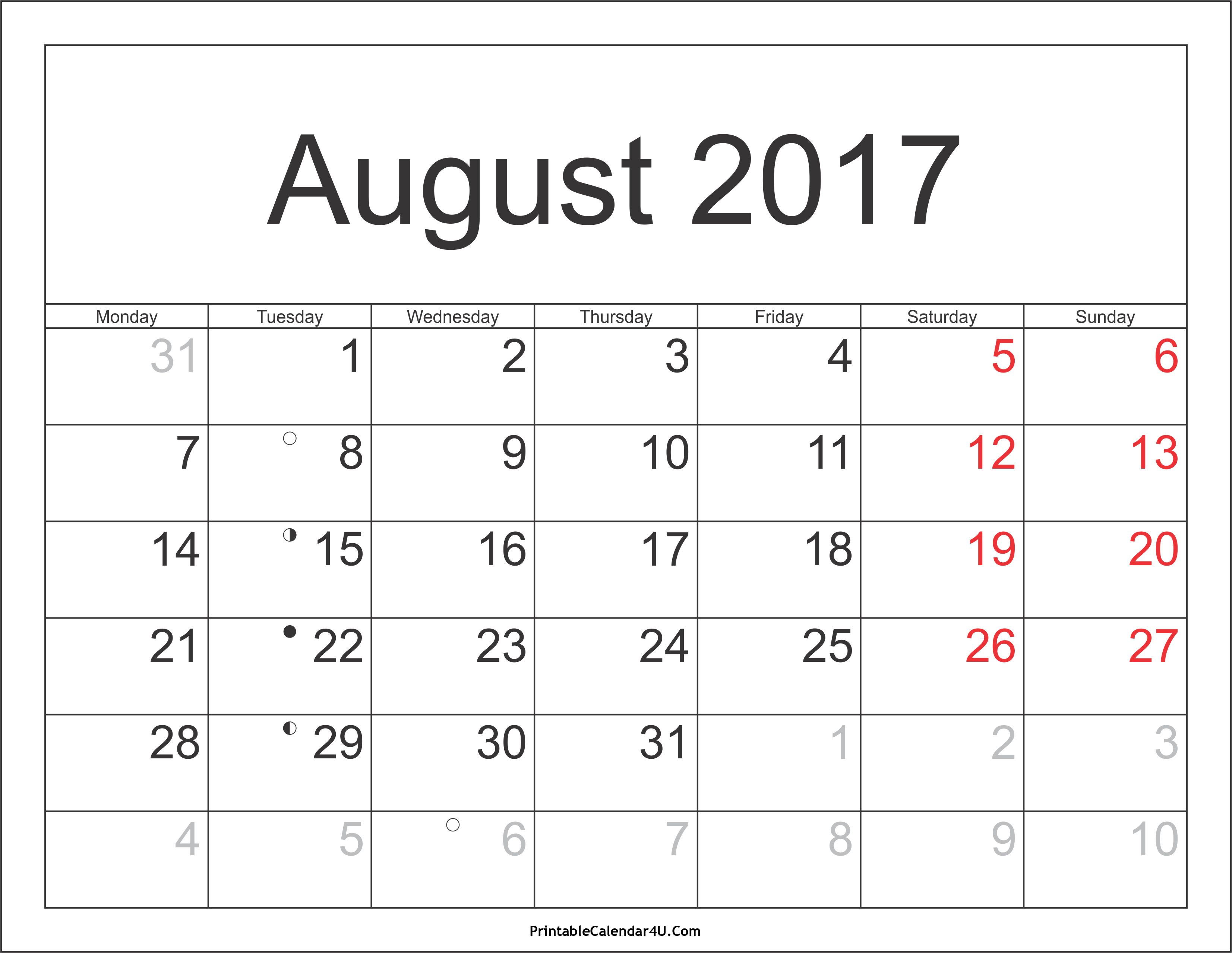 Best Free August 2017 Calendar Printable Template November