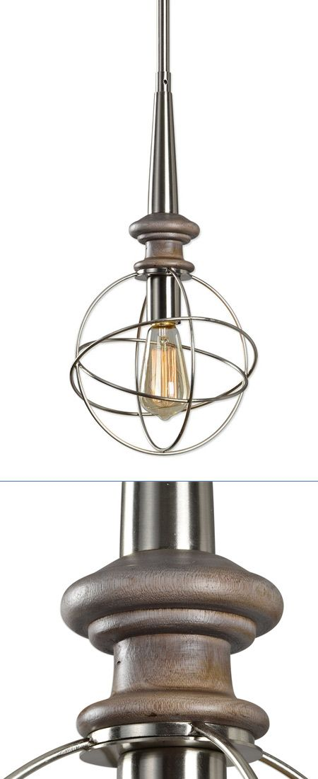 A Transitional Rod Hung Mini Pendant In Brushed Nickel Features A Sphere Head With A Washed Grey Driftwood Spindle.