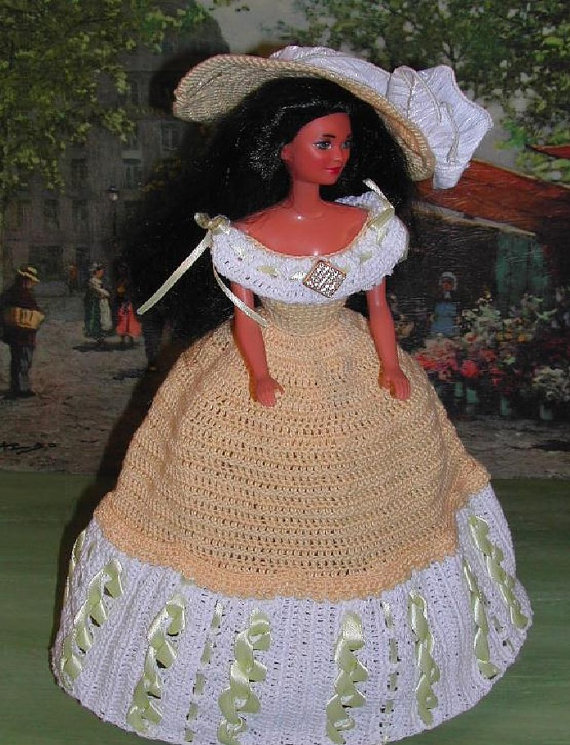 Crochet Fashion Doll Barbie Pattern- #356 TEA GOWN from COLUMBIA ...
