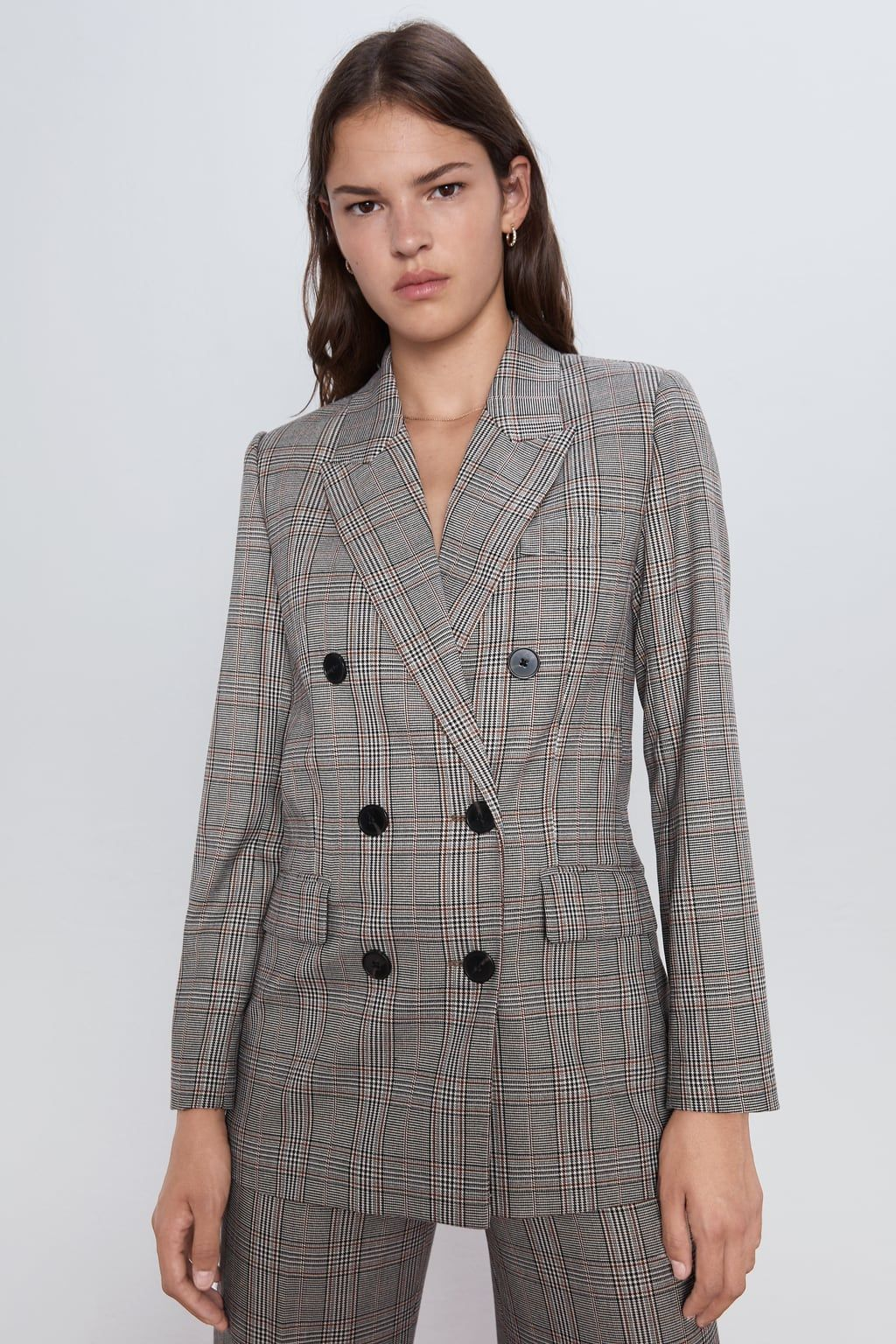 Checked Double Breasted Jacket New In Woman Zara Romania Plaid Jacket Blazer Jackets For Women Double Breasted Jacket
