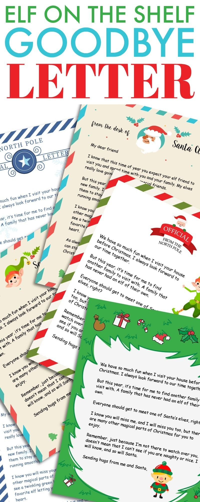 Elf on the Shelf Goodbye Letter Free Printable Goodbye