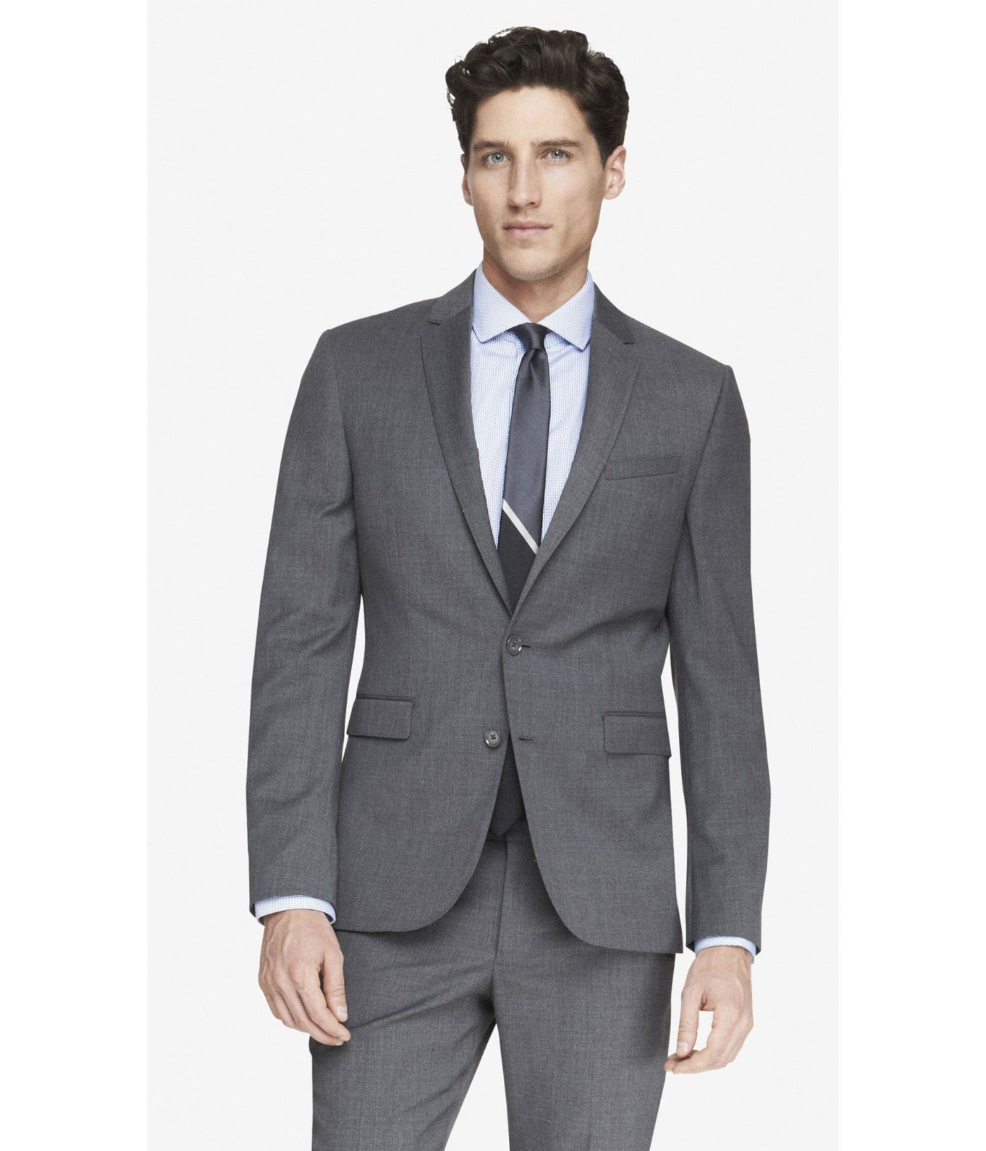 express extra slim innovator micro twill gray suit jacket ...