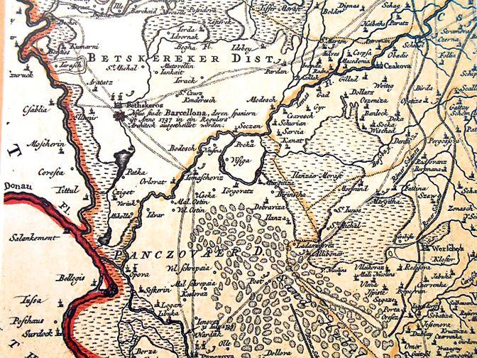 mapa banata Mapa Banata iz 1790 sa ubelezenim naseljem Nova Barselona | KARTE  mapa banata
