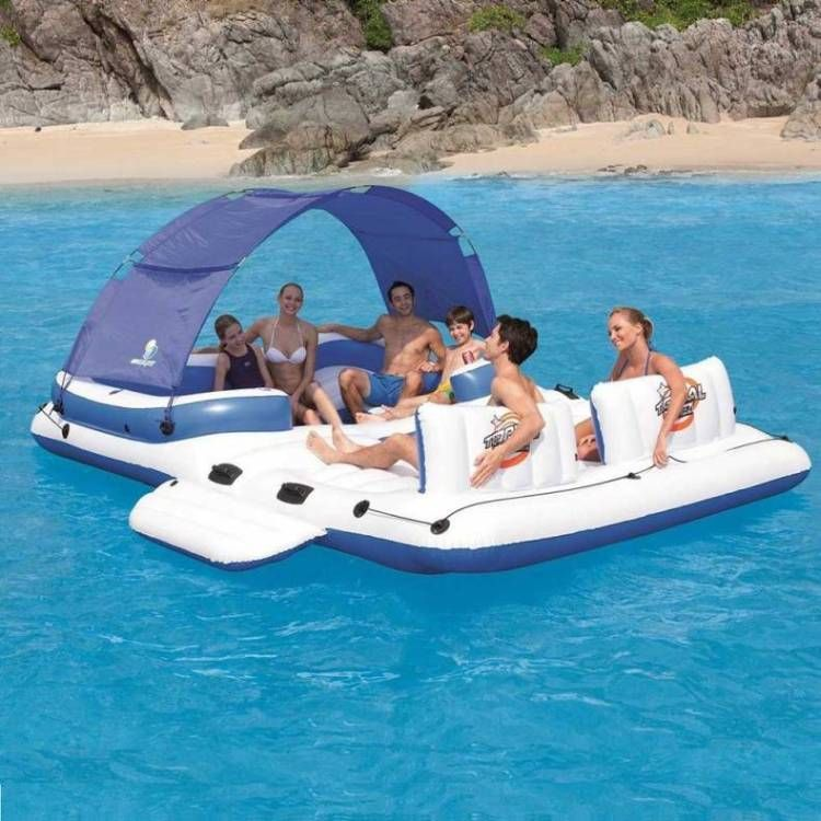 Inflatable Island Floating Boat Raft W Couch, Shade | Buy Pool Floats