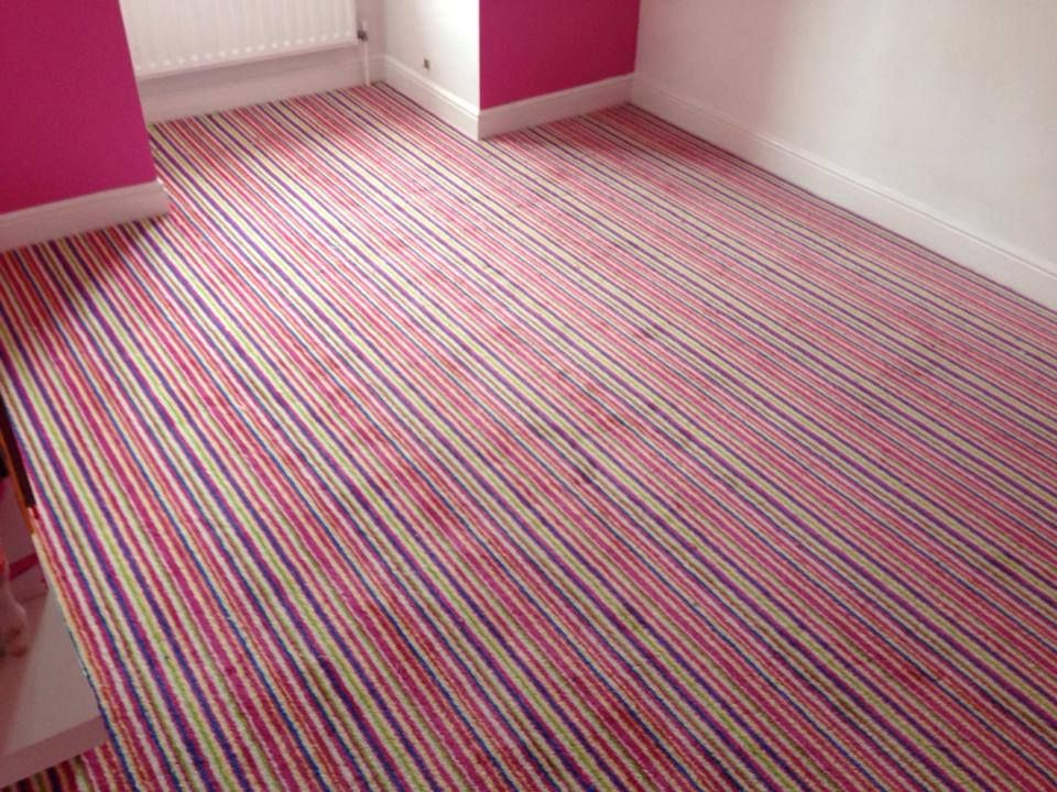 Pink Striped Carpet In A Bedroom Supplied And Installed By Tayflor Carpets Vinyls Work Completed Pinterest Ers