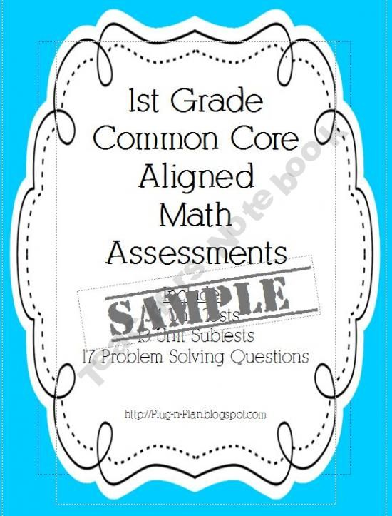 1st Grade Math Common Core Assessments SAMPLE product from Plug-n - product label sample