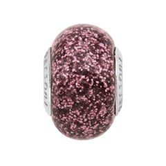 Persona® Sterling Silver Pink Glitter Glass Bead