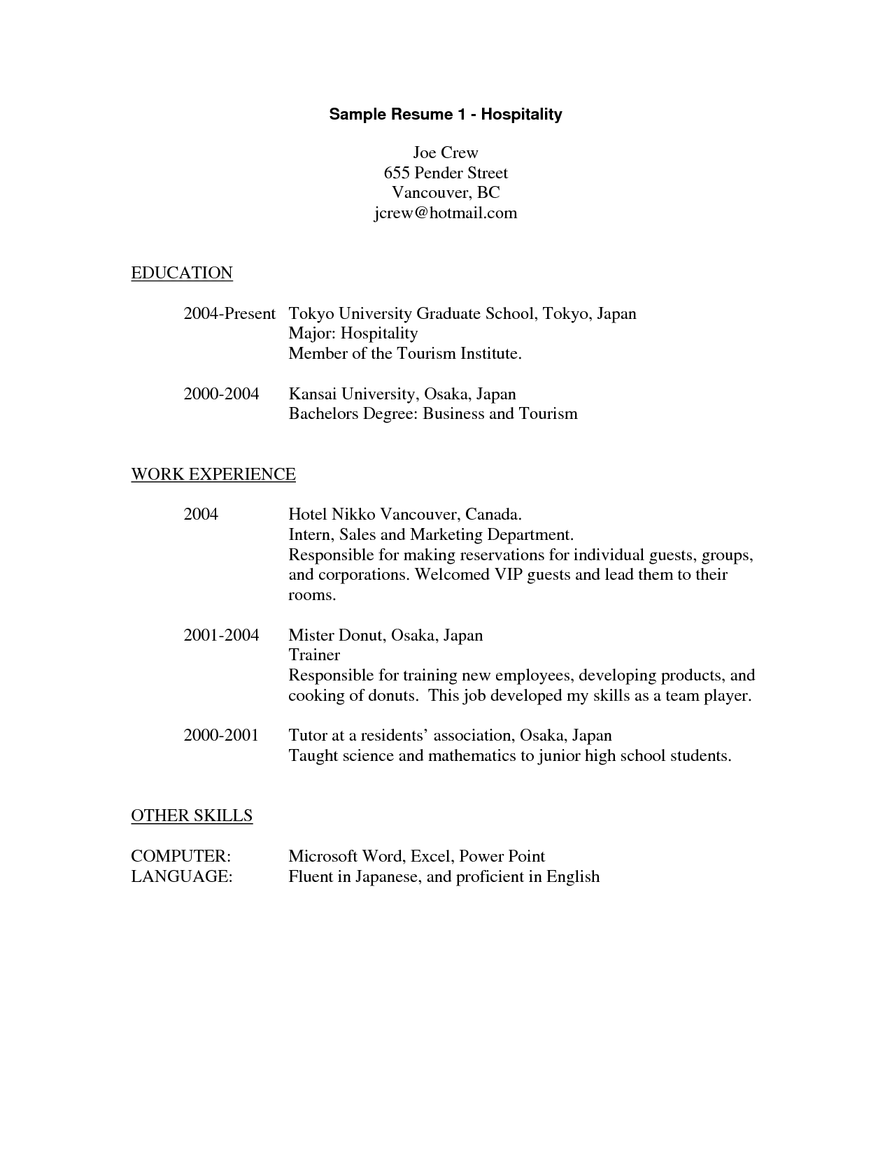 Sample Resume For Hospitality Industry Sample Resume For