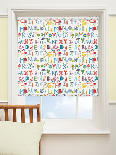 alphabeats crazy cool blackout roller blind brighten up a bedroom or nursery with this colourful