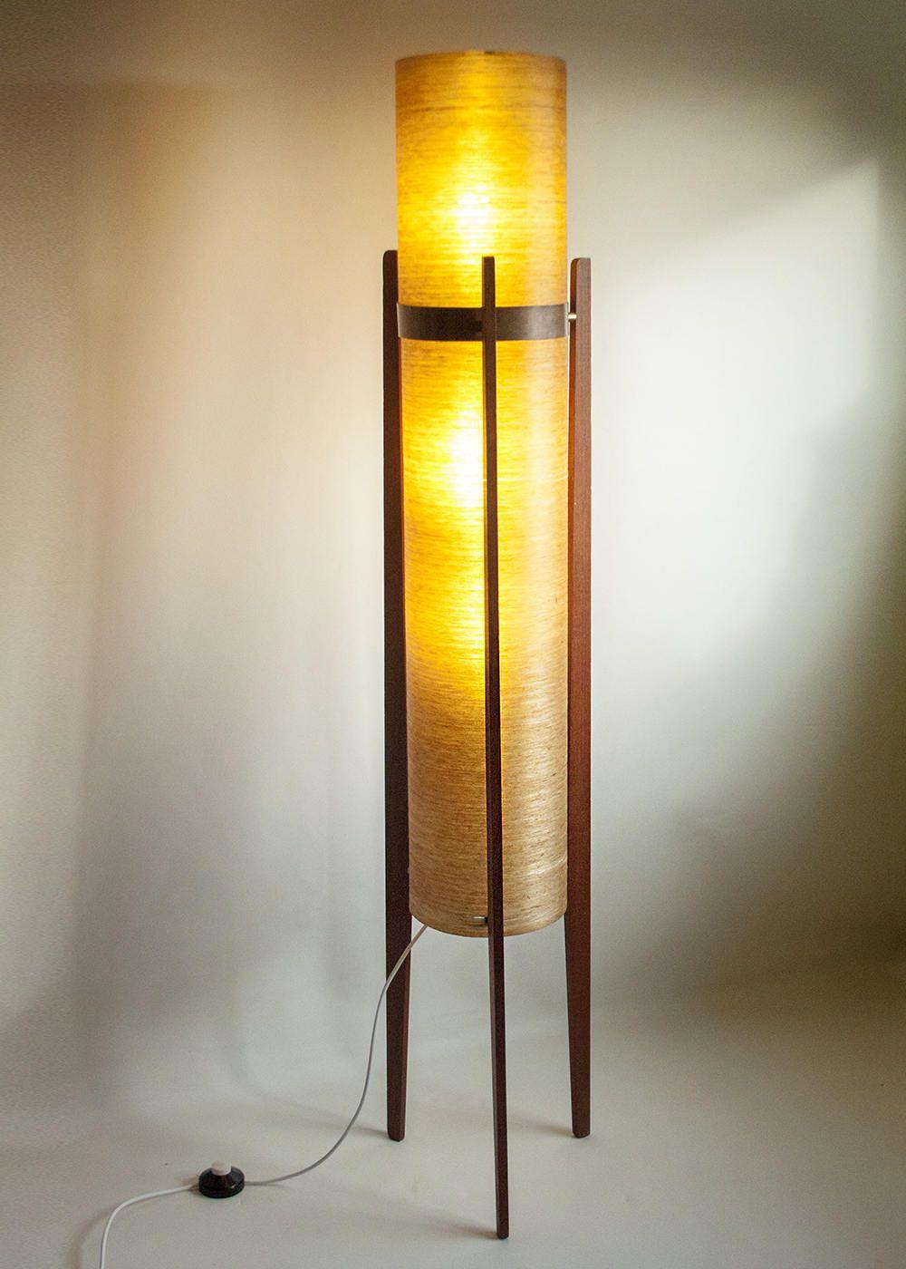 Vintage Retro 1960s/70s Tall Spun Fibreglass and Teak Rocket Floor ...