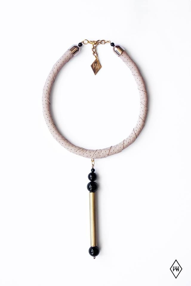 My favorite <3 Little Wonder  CALDER NECKLACE  nude perforated leather/onyx/handcut and polished brass/metal components  Photo via: https://www.facebook.com/pages/Little-Wonder/129201063781970?fref=ts