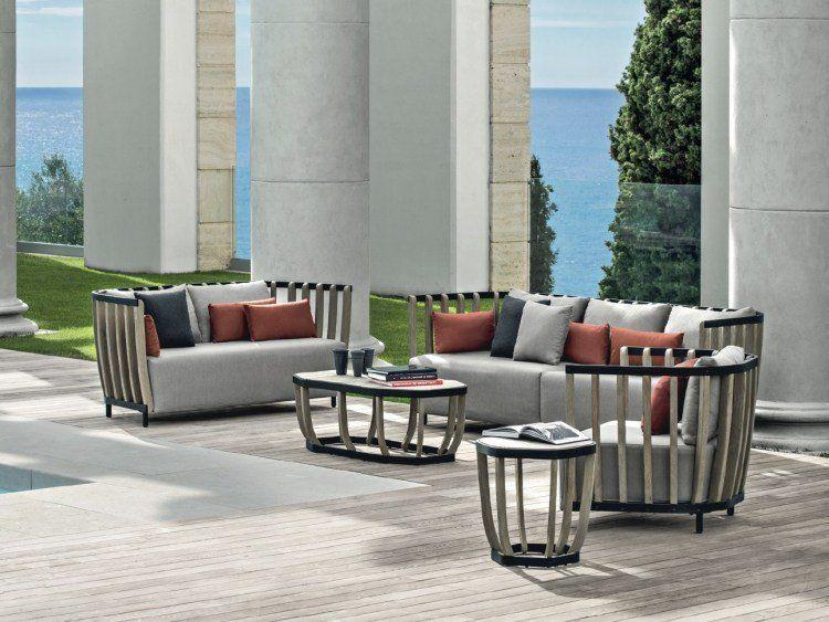 Salon de jardin haut de gamme, teck patiné et aluminium , coussins ...