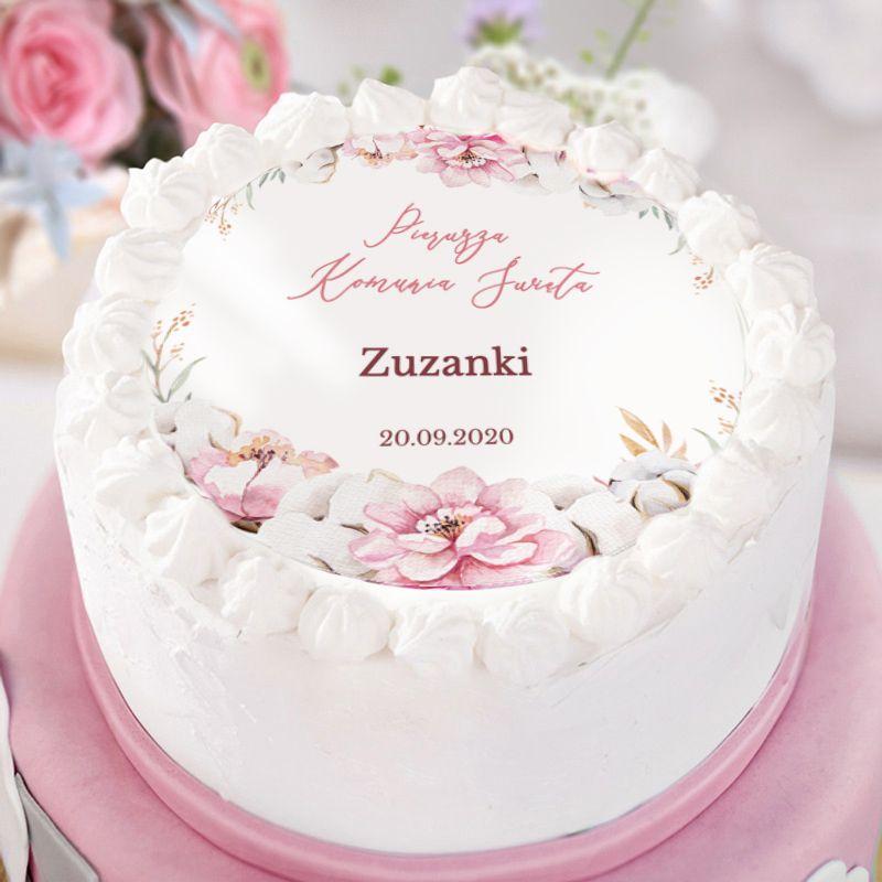 Pin By Zlotyaniol Pl Dekoracje Komu On Kolekcja Komunijna Subtelny Roz Vanilla Cake Cake Desserts