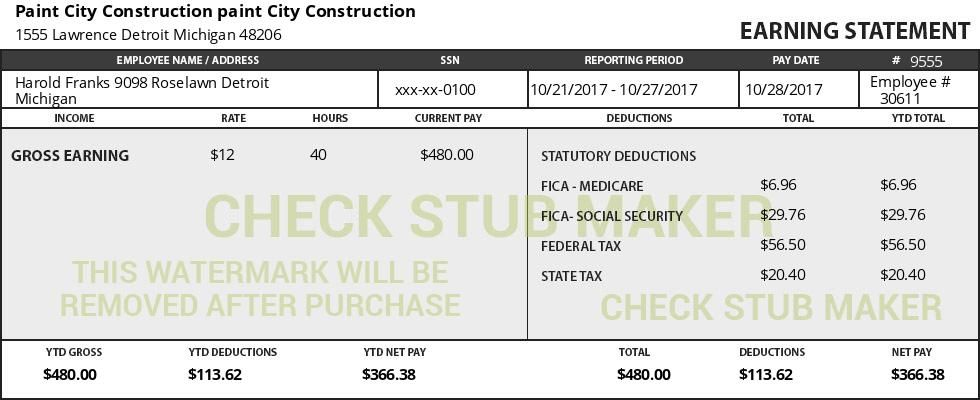 Enter your information into the spaces below to start creating - download pay stub template