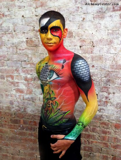 Body Painting For Kett Costmetics At Imats New York Makeupartist Makeup Artist Newyork Bodyart Fx Air Body Painting Men Body Painting Body Art Painting