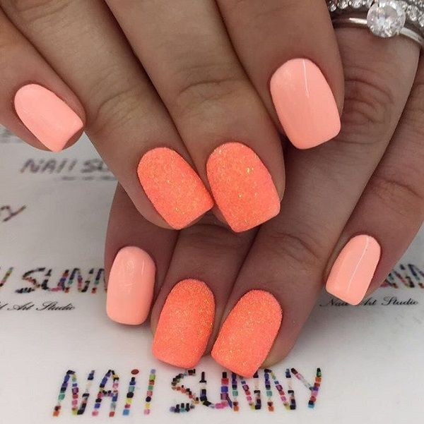 55 Summer Holiday Nail Art Ideas Peach Nails Coral Nails