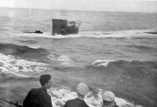 The U-boat U-31 as seen from HMS Antelope after the attack ...