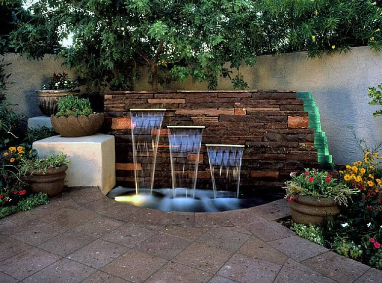 Cool Small Outdoor Water Flow Fountain Ideas On The Brick Stone For  Traditional Home Garden Design