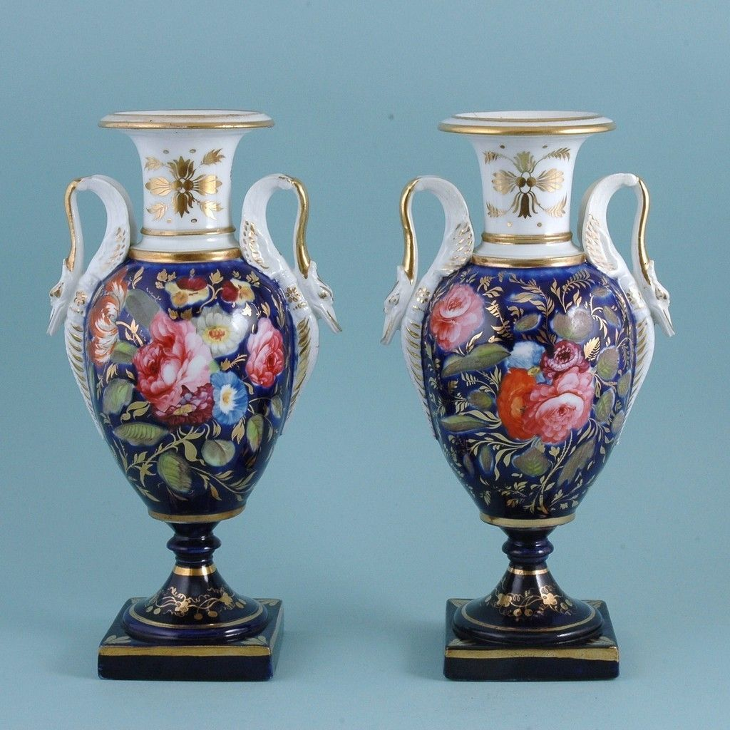 Pair of english porcelain vases with swan handles circa 1820 pair of english porcelain vases with swan handles circa 1820 ebay reviewsmspy